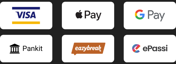 Visa, Apple Pay, Google Pay, Verkkopankit, Eazybreak, ePassi